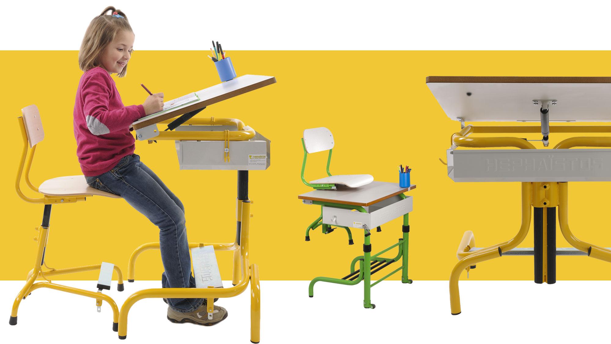 Hephaïstos mobilier ergonomique gamme scolaire table et chaise de bureau