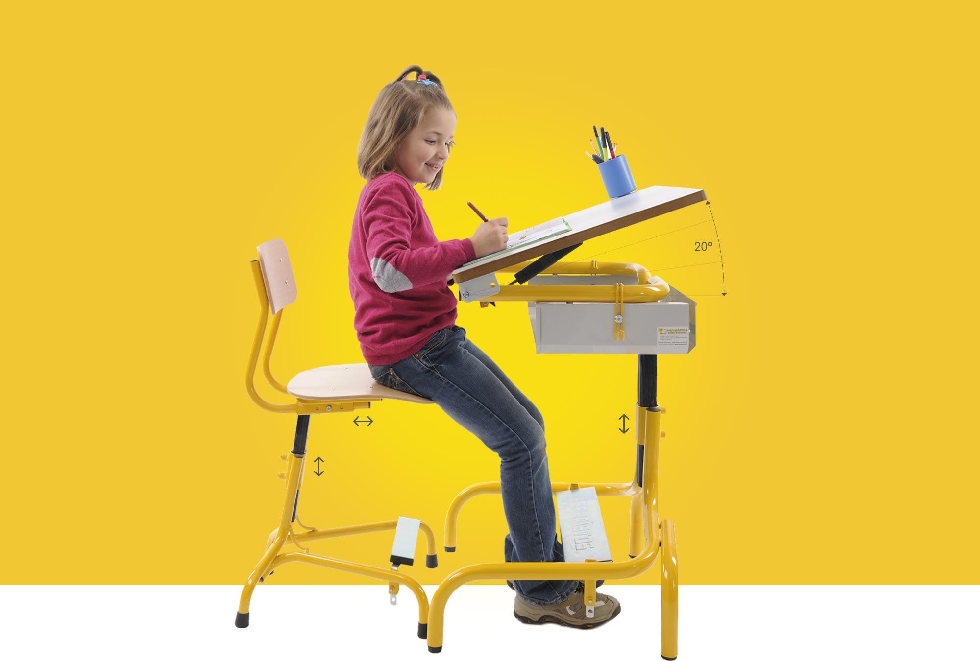 Hephaïstos mobilier ergonomique ensemble table chaise hergon