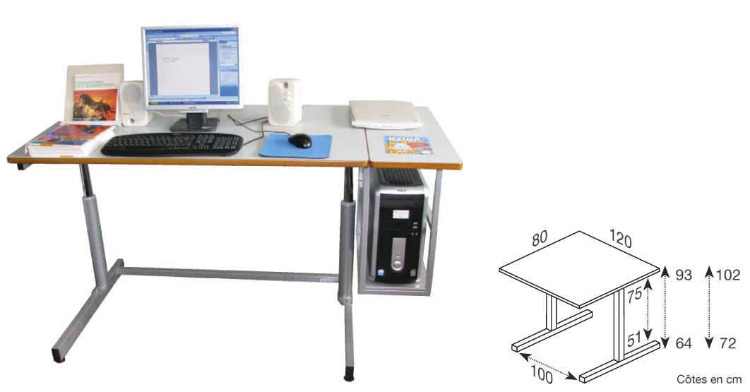Hephaïstos mobilier adapté ergonomique table bureau