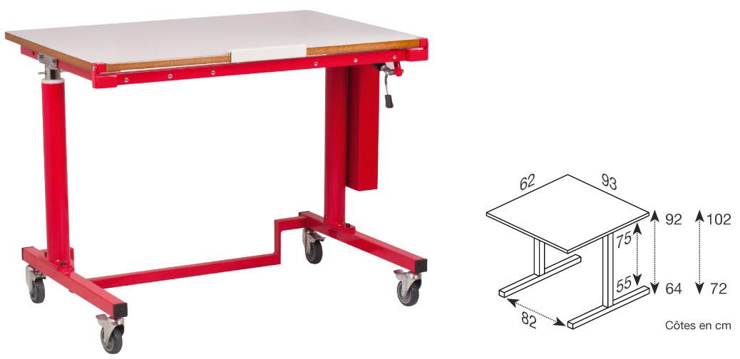Hephaïstos mobilier ergonomique table PMR