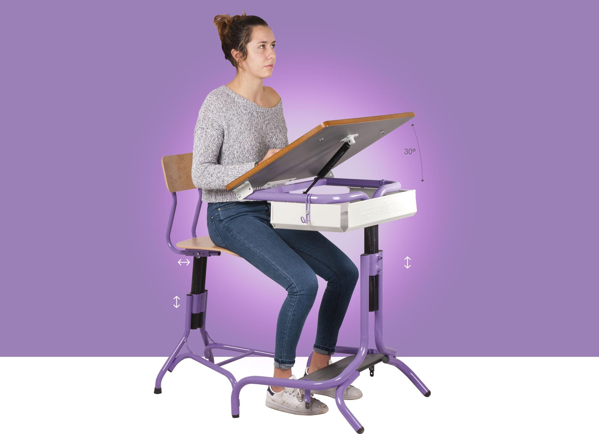 Hephaïstos mobilier ergonomique table individuelle Hergon Dys
